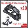 10pcs Flat+Thin As Noodle OBD OBDII ELM 327 Cable 16 Pin OBD2 Y Connector ELM327 Male To dual Female Y Splitter Elbow Extension