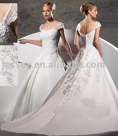 Sleeve Wedding Dress on Shipping W2094 Custom Made Cap Sleeve Beaded Wedding Gown Bridal Dress