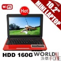 "FREE EMS SHIPPING!!!10.2"" HDD 160G / RAM 1G / WIFI NETBOOK COMPUTER R89 MINI LAPTOP (WF-R89)"