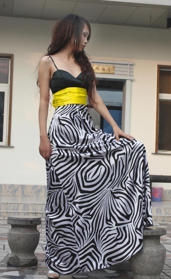 فساتين Zebra Fashion-New-Zebra-Stripe-Prom-Party-Ladies-Dresses-A-09017