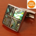 free shipping 2010 new design classic abalone cuff links