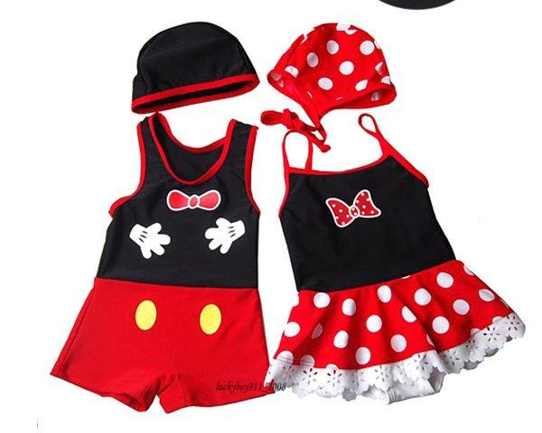 Kids' Swimsuits minnie Swimwear suits Cap mickey swimwear kids beachwears suit baby swimwear ...