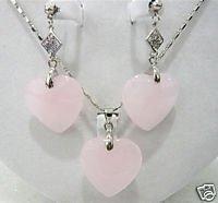 Rosa del corazón de tipo pendiente collar de esmeraldas conjuntos de moda (China (continental))