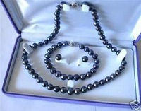 Beautiful black pearl necklace&bracelet&earring(China (Mainland))