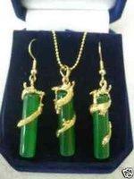 Hermoso dragón de jade verde colgante pendiente conjunto (China (continental))