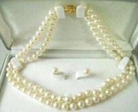 7-8mm de agua bien salada collar de perlas de aretes (China (continental))