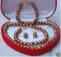 Chocolate AAA 8mm Collar de perlas pulsera pendiente (China (continental))