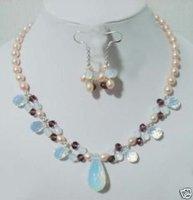 Joyería de perlas Pendientes ópalo collar aretes (China (continental))