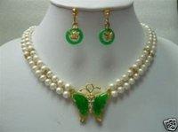 2 blanco perla y la mariposa Pendiente colgante de jade / Juegos (China (continental))