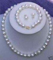 Blancas perlas de agua dulce encanto de collar y aretes Juegos (China (continental))