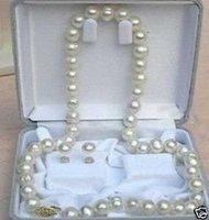 8mm cultivadas collares de perlas blancas conjunto pendiente (China (continental))