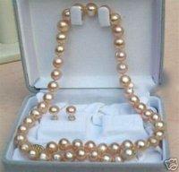 """Rosa, poco común pendiente collar de perlas Set 17 """"7 - 8 mm (China (continental))"""