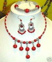 tibet plata de coral rojo de collares y pulseras y aretes (China (continental))
