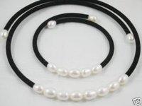 Auténtica perla blanca Establece Collar / (China (continental))