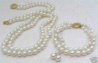 Blanco hermoso collar de perlas y aretes / Juegos (China (continental))
