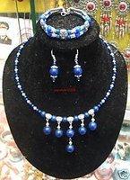 JUEGO plata tibet collar de lapislázuli, pulseras, pendientes (China (continental))