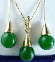 Verde hermoso colgante de jade pendiente collar (China (continental))