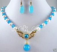 FANCY azul jade blanco Collares perlas colgante pendiente (China (continental))