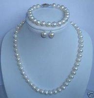 Joyería blanco collar de perlas pendientes pulsera de 7-8mm (China (continental))
