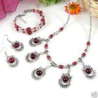 JUEGO DE RED plata tibet cuentas de collar y pulsera y aretes (China (continental))