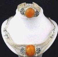 Ámbar Collar de plata tibetana pulsera (China (continental))