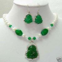 "18 ""Pearl & Jade Verde BUDA colgante AMULETO aretes (China (continental))"