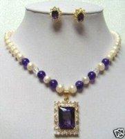 Perlas de agua dulce amatista colgante de collar aretes (China (continental))