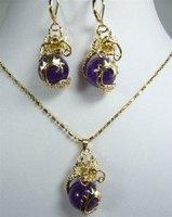 Casa de dragón púrpura de cristal colgante de collar de pendiente (China (continental))