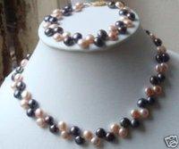 """7-8mm rosa, negro collar de perlas pulseras conjuntos de 17 """"(China (continental))"""