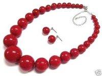 joyas de coral rojo collar de bolas Juegos de pendiente / (China (continental))