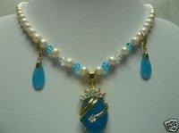 """Hermoso collar de perlas de jade azul colgante pendiente de 18 """"(China (continental))"""