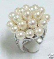 Maravillosa concha blanca anillos de perlas de uva forma (China (continental))