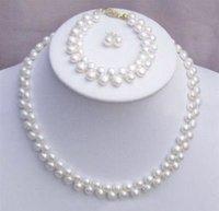 Encantador!  blanco natural de agua dulce collar de perlas conjunto (China (continental))