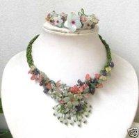 tejido a mano brazalete de jade collar de flores de set / Juegos (China (continental))
