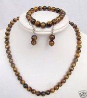 Joyas de ojo de tigre conjuntos de collar pulsera pendientes / (China (continental))