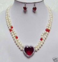 Casa de White Pearl Necklace Sets pendiente / (China (continental))