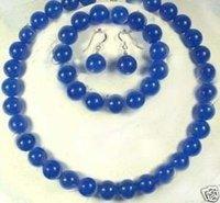 Joyas de jade azul 10MM establece Collar (China (continental))