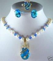 Perla encantadora y pendiente azul joyería anillo de collar (China (continental))