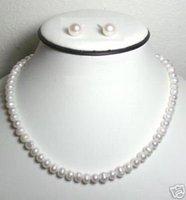 7-8mm verdadera perla coinciden collar de plata 925 pendiente de estudios (China (continental))