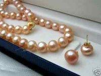 pretty7-8mm rosa collar de perlas Akoya + Pendientes Joyería (China (continental))