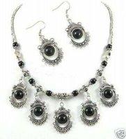 Joyas de plata tibet jade negro, collar de pendiente (China (continental))