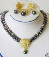 Hermoso collar de perlas 2Rows Negro pendiente anillo (China (continental))