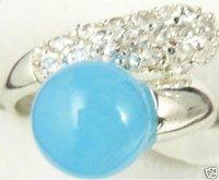 Maravillosa mujer encantadora jade azul de los anillos / Ringe (China (continental))