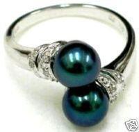 Negro hermoso anillo de concha de perla / Ringe (China (continental))