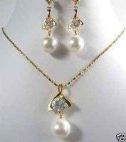 hermosos collares de perlas blancas 12mm pendiente (China (continental))