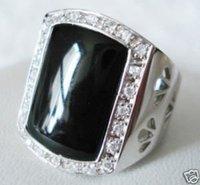 JADE NEGRO chapado en oro blanco de 18K CRYSTAL tamaño del anillo de 10 '(China (continental))