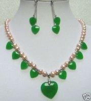 Jade Verde joyas de las mujeres de aretes y collar de perlas (China (continental))