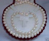 Joyas de 7-8mm blanco collar de perlas pendientes pulsera (China (continental))