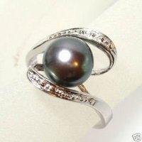 Negro perlas de agua dulce dedo anillos Anillos (China (continental))