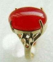 Oval hermosa placa roja Jade Anillo Talla 7 (China (continental))
